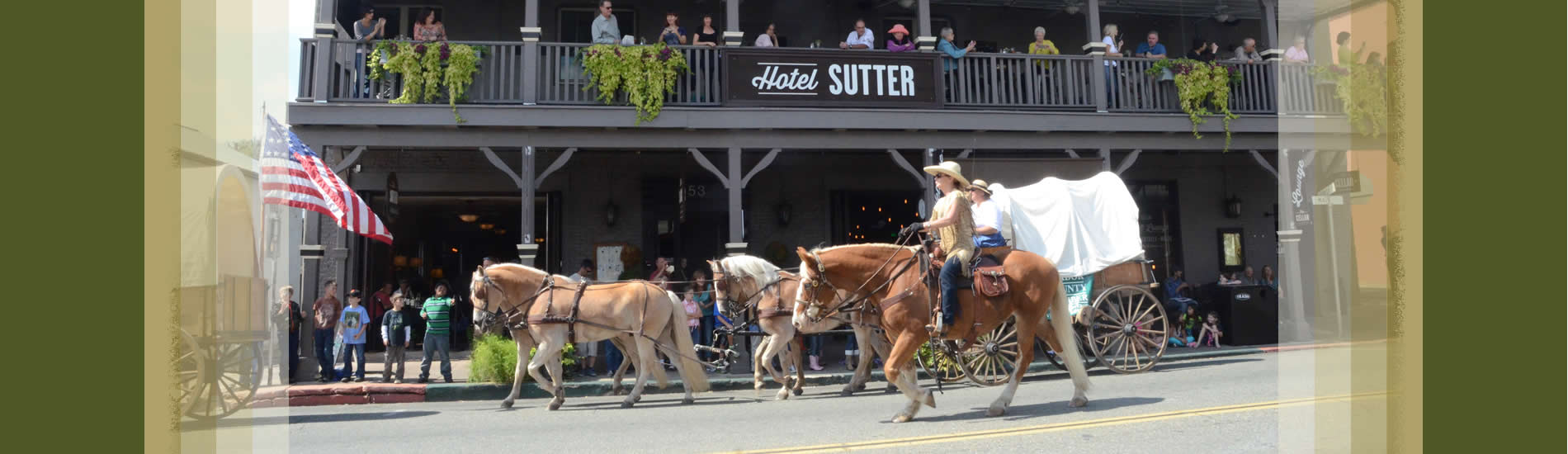 sutter creek wagon train in front of local hotel on old highway 49