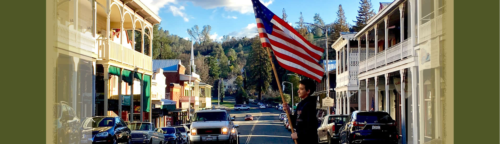 sutter creek main street american flag on old highway 49